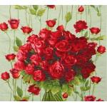 Дорожка декоративная Chemin de roses rouge, fond vert