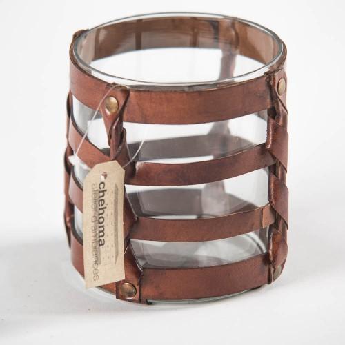 Подсвечник Small leather weaved hurricane