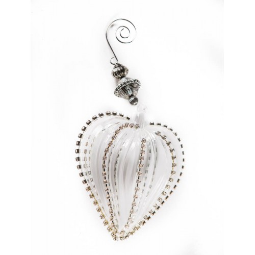 Игрушка ёлочная Clear glass heart