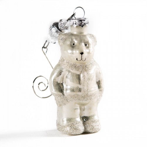 Игрушка ёлочная Small hanging bear antique white